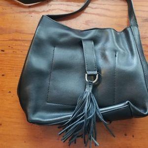Black Leather Crossbody Tassel Shoulder Bag